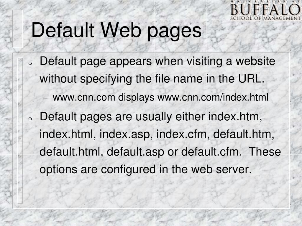 Default Web pages