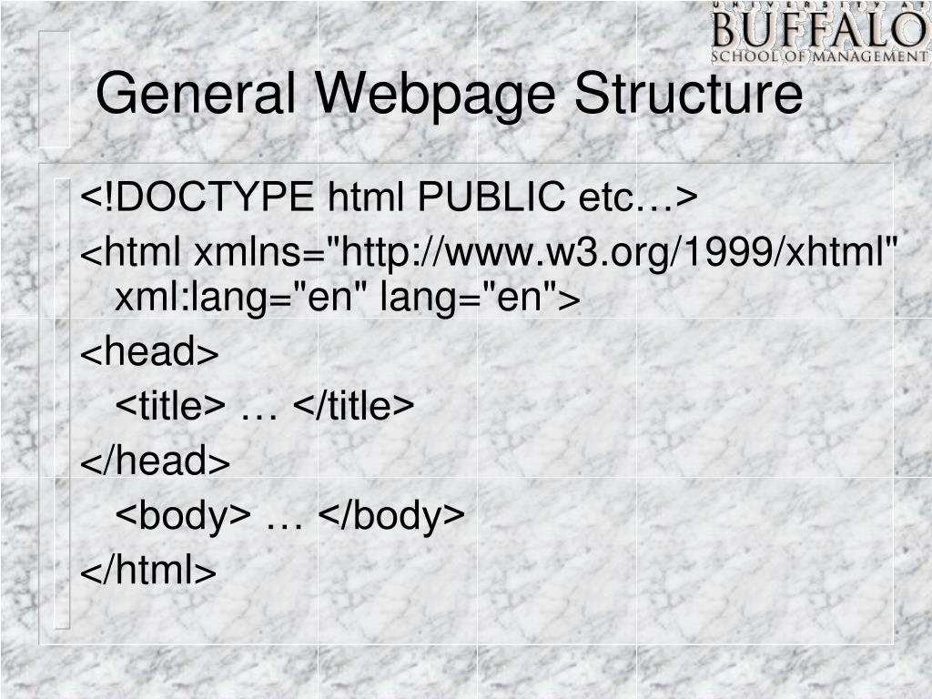 General Webpage Structure
