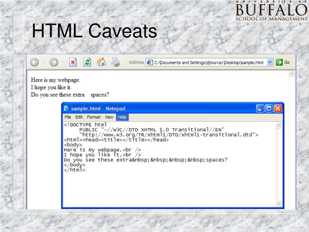 HTML Caveats