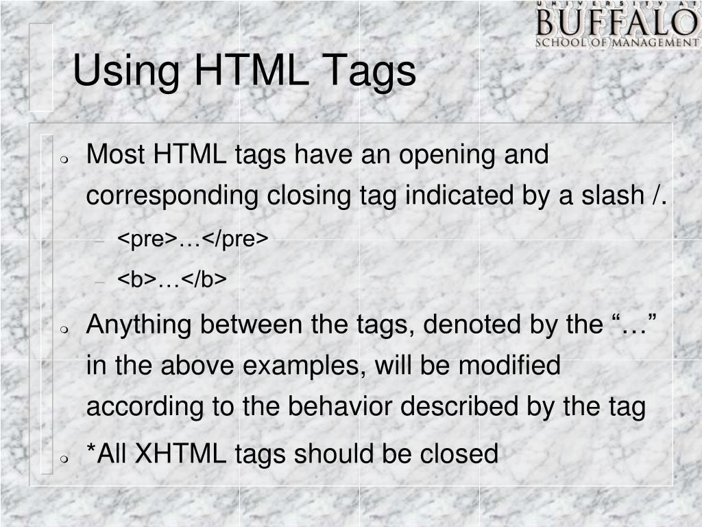 Using HTML Tags