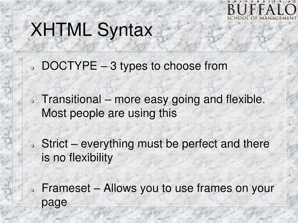 XHTML Syntax