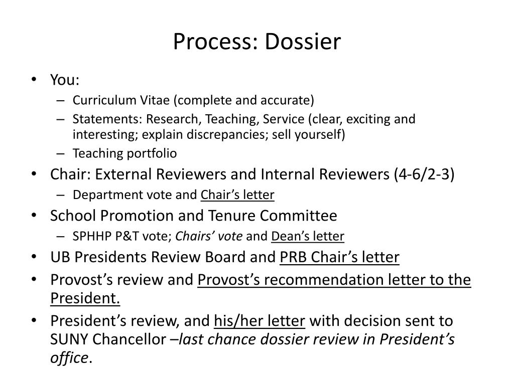 Process: Dossier