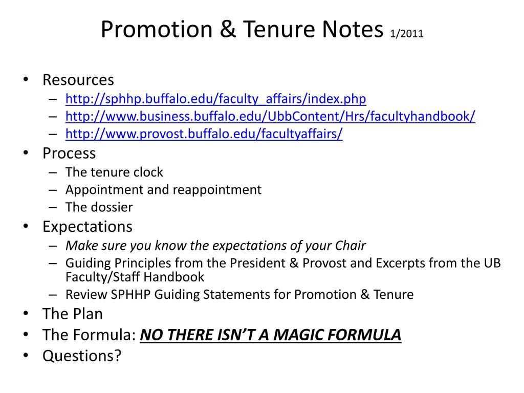 Promotion & Tenure Notes