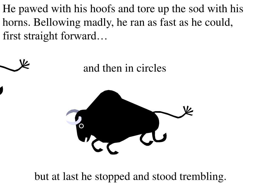 He pawed with his hoofs and tore up the sod with his horns. Bellowing madly, he ran as fast as he could, first straight forward…