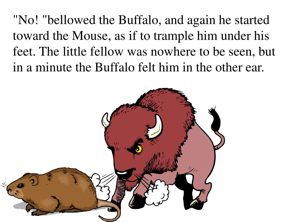 """""""No! """"bellowed the Buffalo, and again he started toward the Mouse, as if to trample him under his feet. The little fellow was nowhere to be seen, but in a minute the Buffalo felt him in the other ear."""