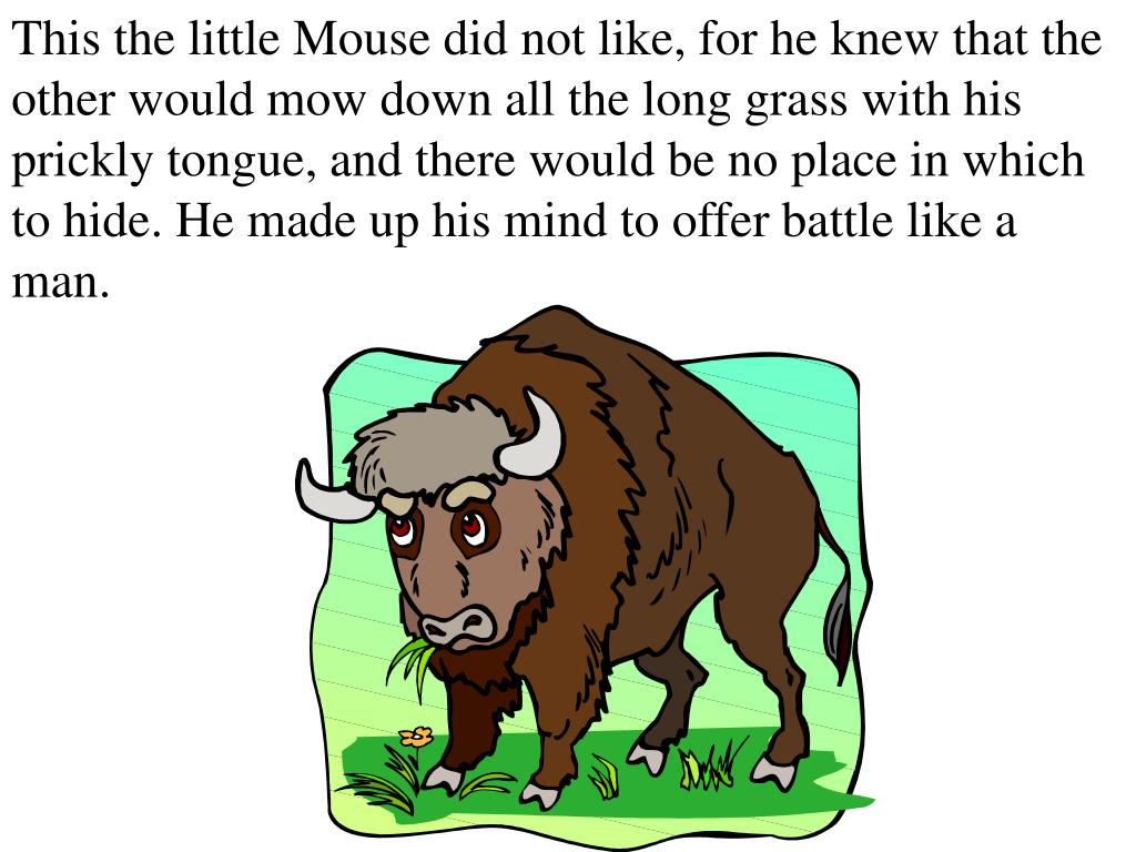 This the little Mouse did not like, for he knew that the other would mow down all the long grass with his prickly tongue, and there would be no place in which to hide. He made up his mind to offer battle like a man.