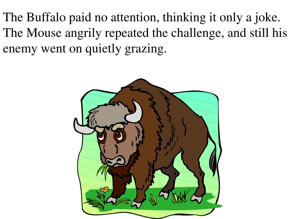 The Buffalo paid no attention, thinking it only a joke. The Mouse angrily repeated the challenge, and still his enemy went on quietly grazing.