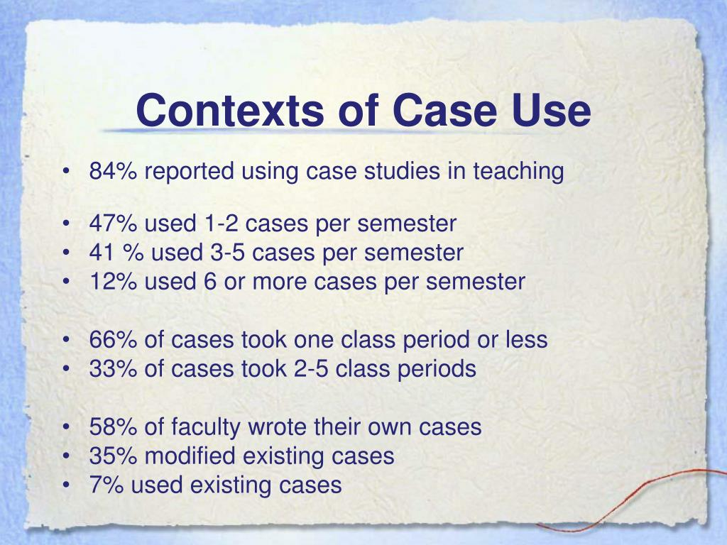 Contexts of Case Use