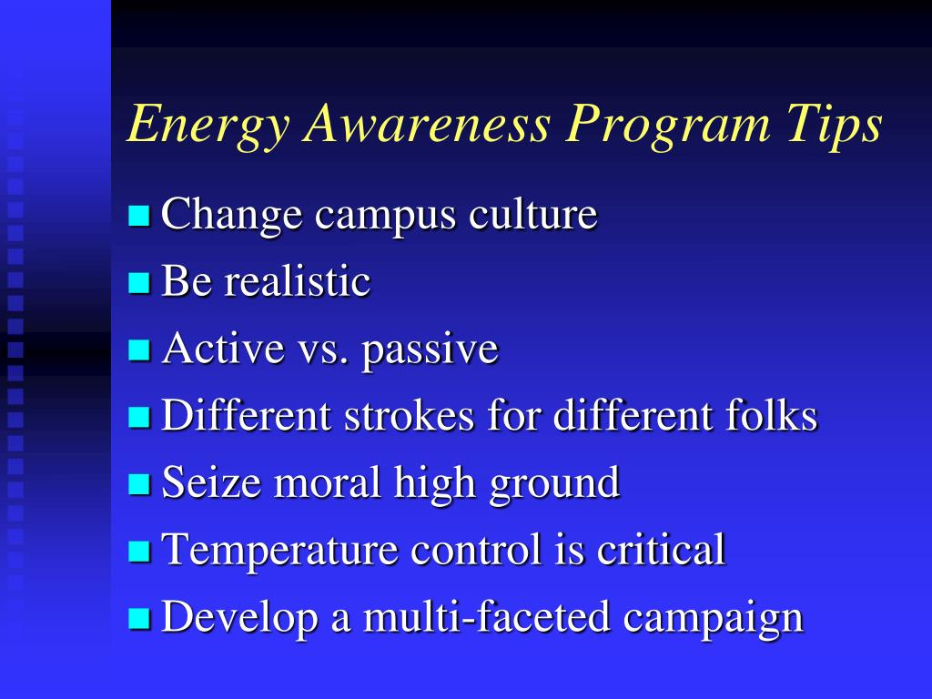 Energy Awareness Program Tips