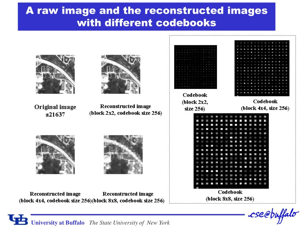 A raw image and the reconstructed images with different codebooks