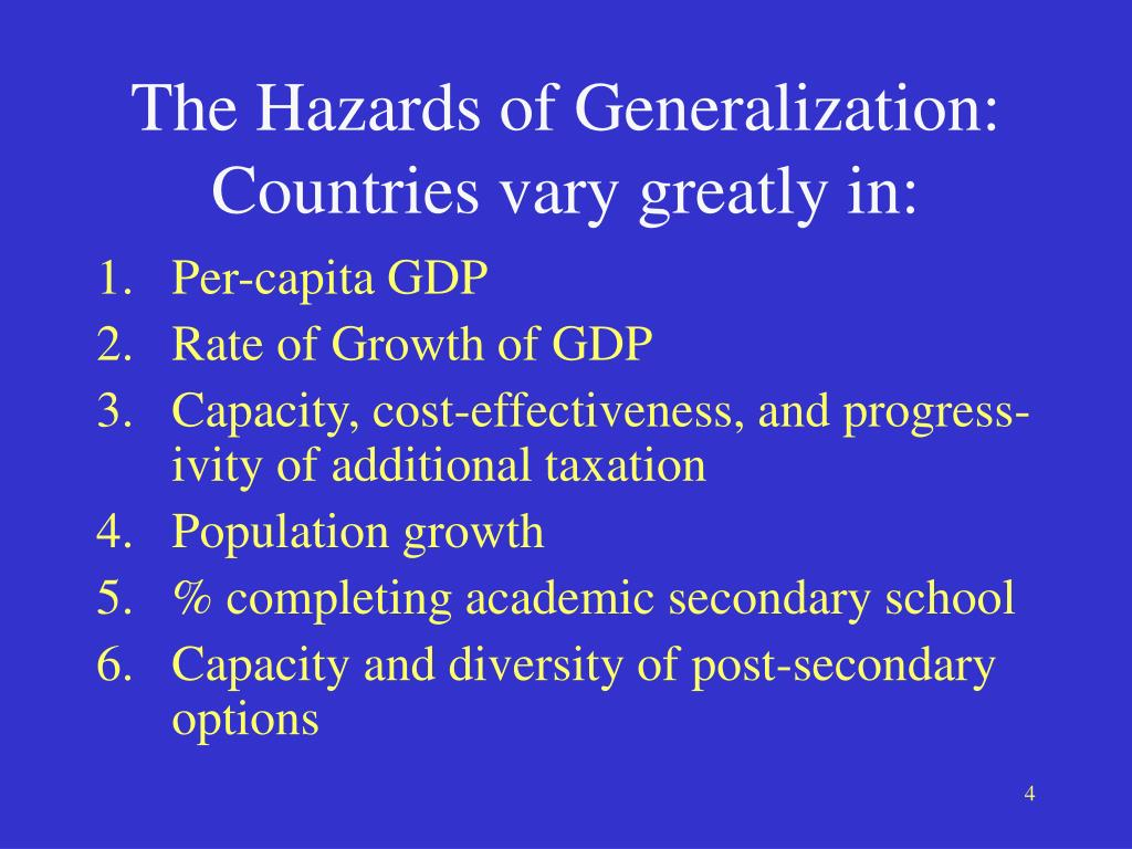 The Hazards of Generalization: Countries vary greatly in: