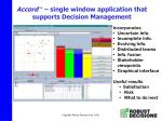 accord tm single window application that supports decision management