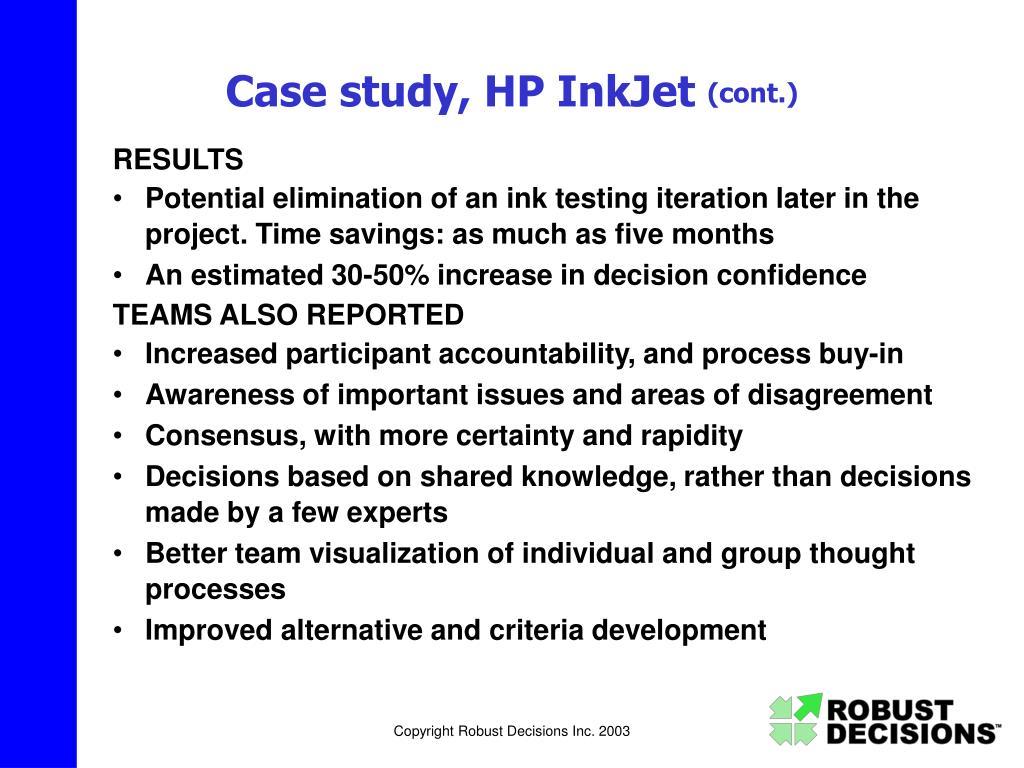 Case study, HP InkJet
