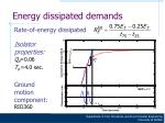 energy dissipated demands20