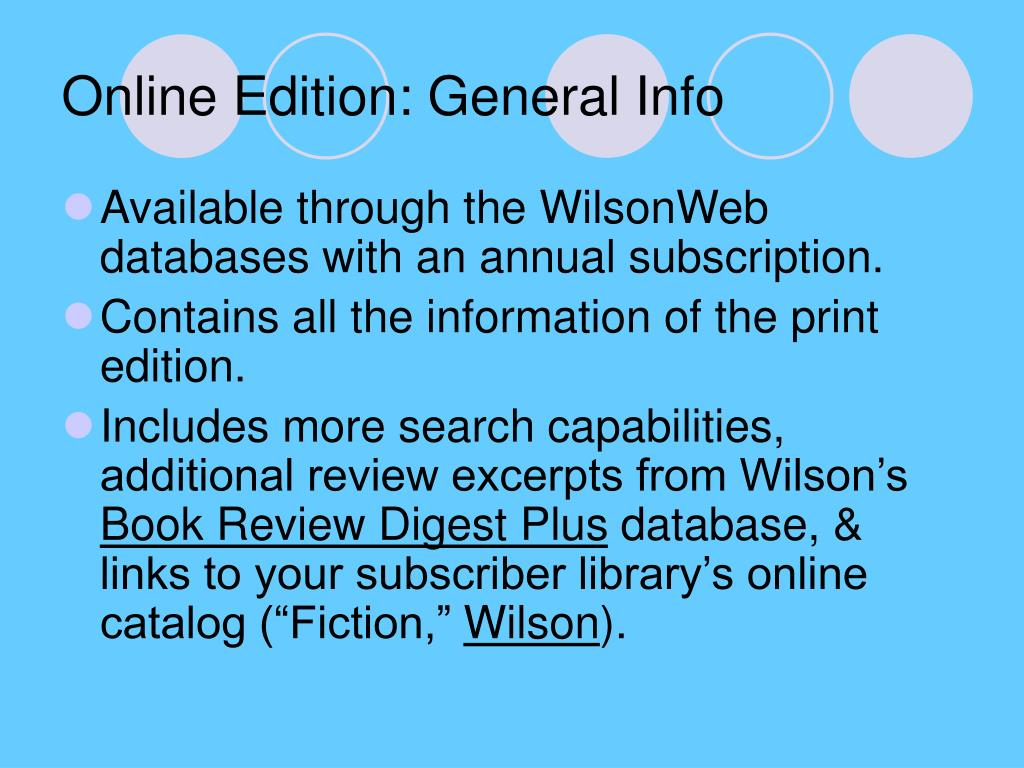 Online Edition: General Info