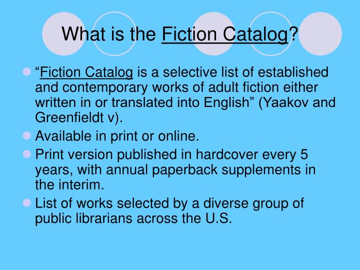 What is the fiction catalog