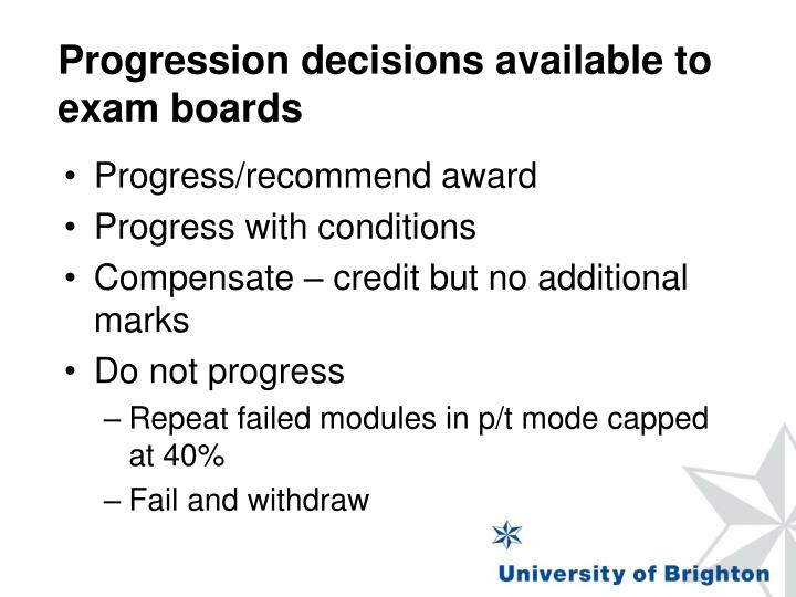 Progression decisions available to exam boards
