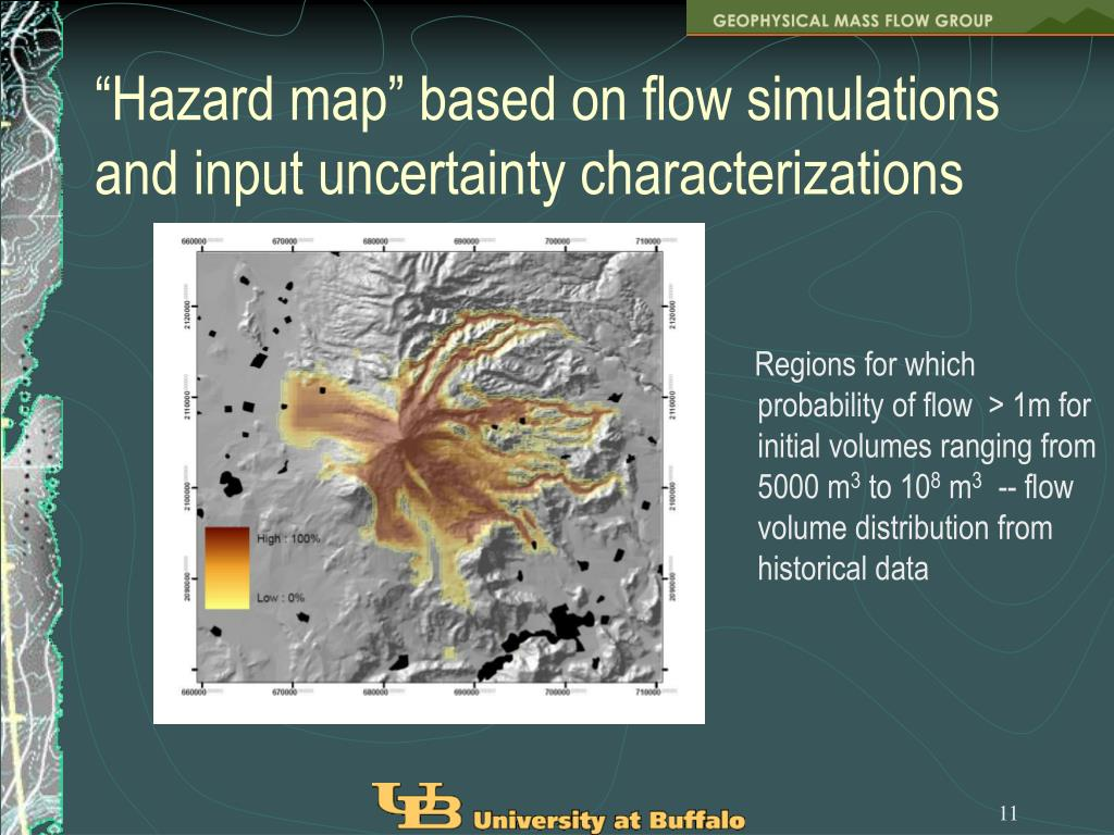 """Hazard map"" based on flow simulations and input uncertainty characterizations"
