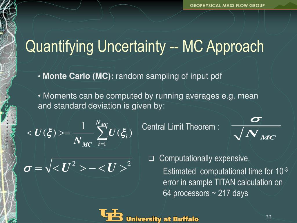 Quantifying Uncertainty -- MC Approach