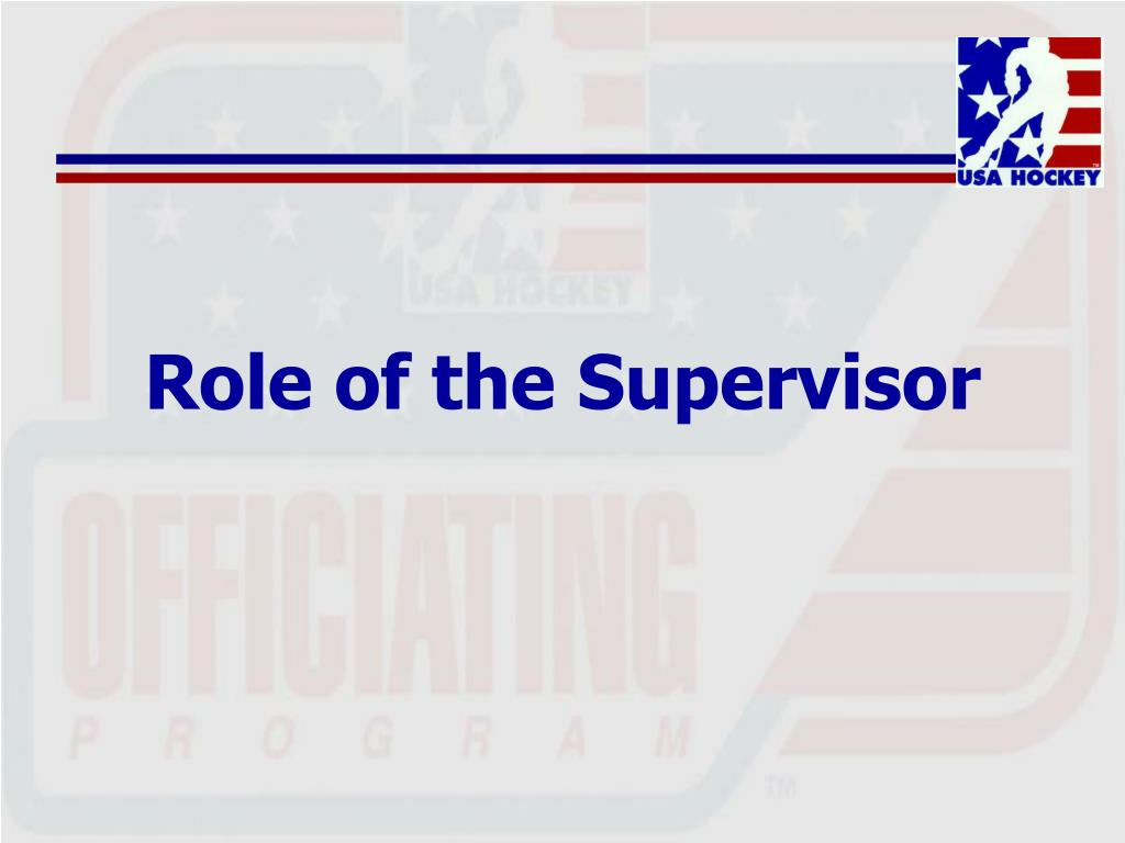 Role of the Supervisor
