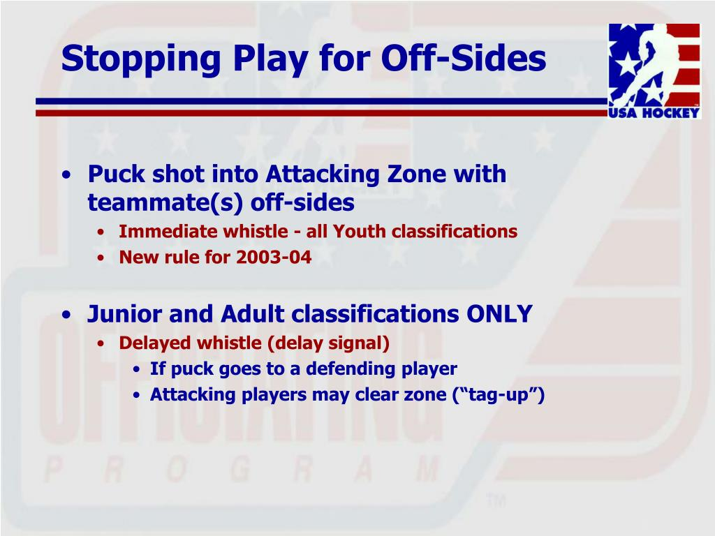 Stopping Play for Off-Sides
