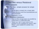 flat files versus relational databases