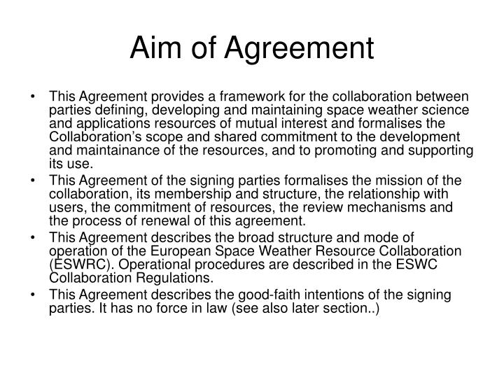 Aim of Agreement