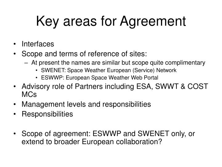 Key areas for Agreement