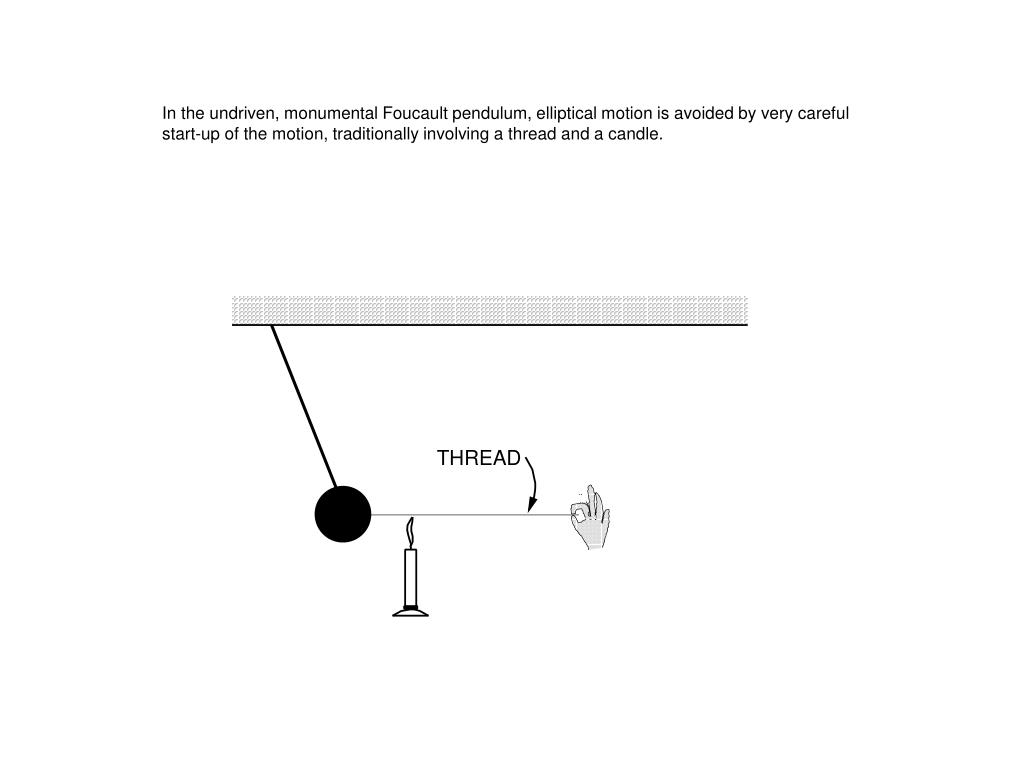 In the undriven, monumental Foucault pendulum, elliptical motion is avoided by very careful start-up of the motion, traditionally involving a thread and a candle.