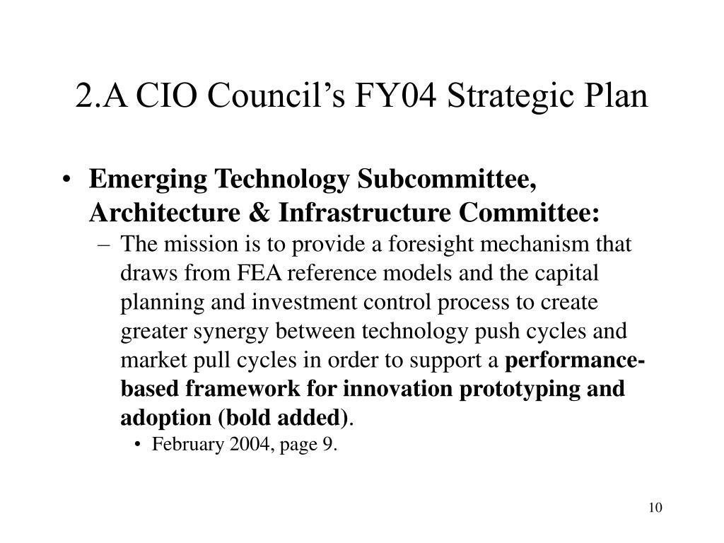 2.A CIO Council's FY04 Strategic Plan