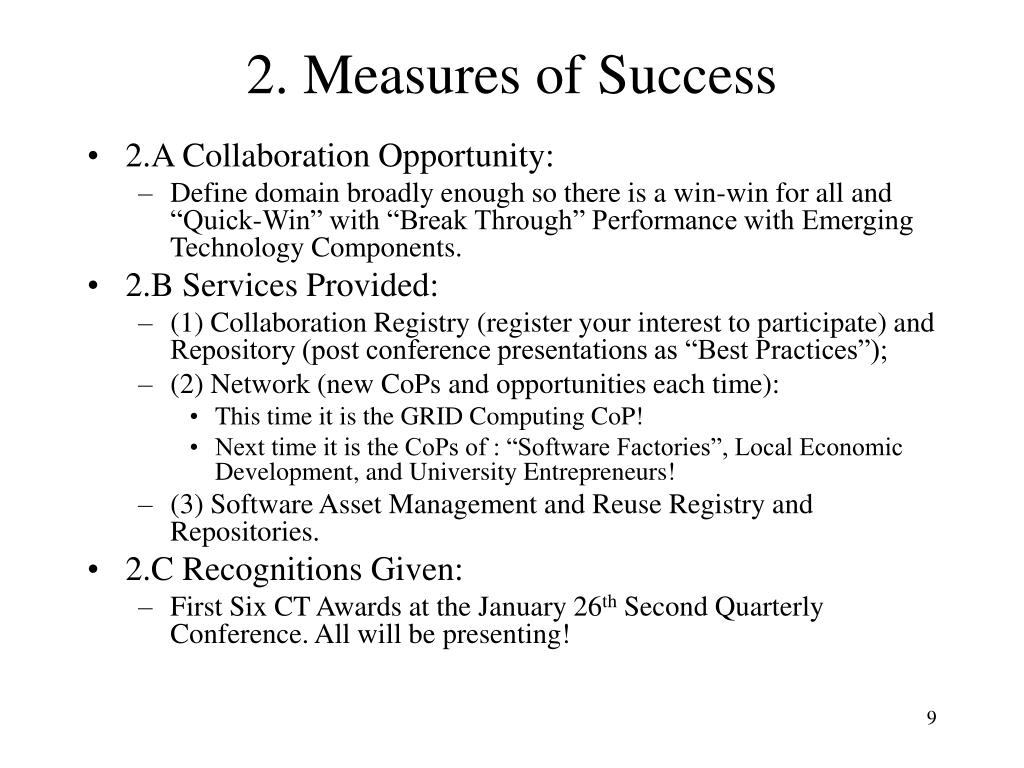 2. Measures of Success