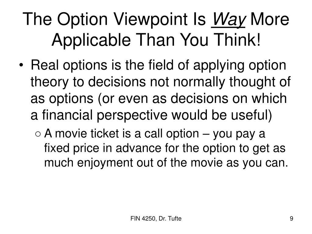 The Option Viewpoint Is