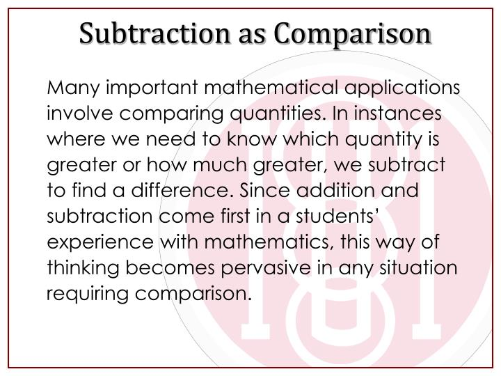 Subtraction as Comparison