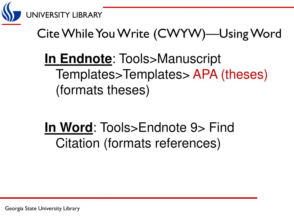 Cite While You Write (CWYW)—Using Word