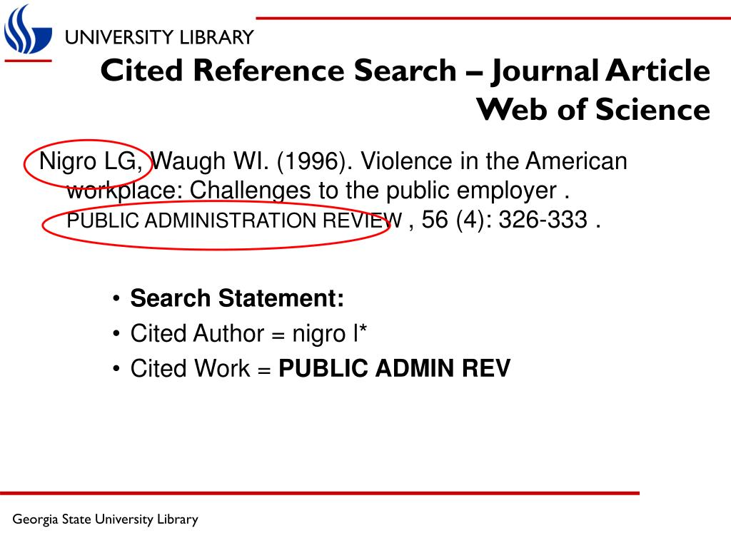 Cited Reference Search – Journal Article