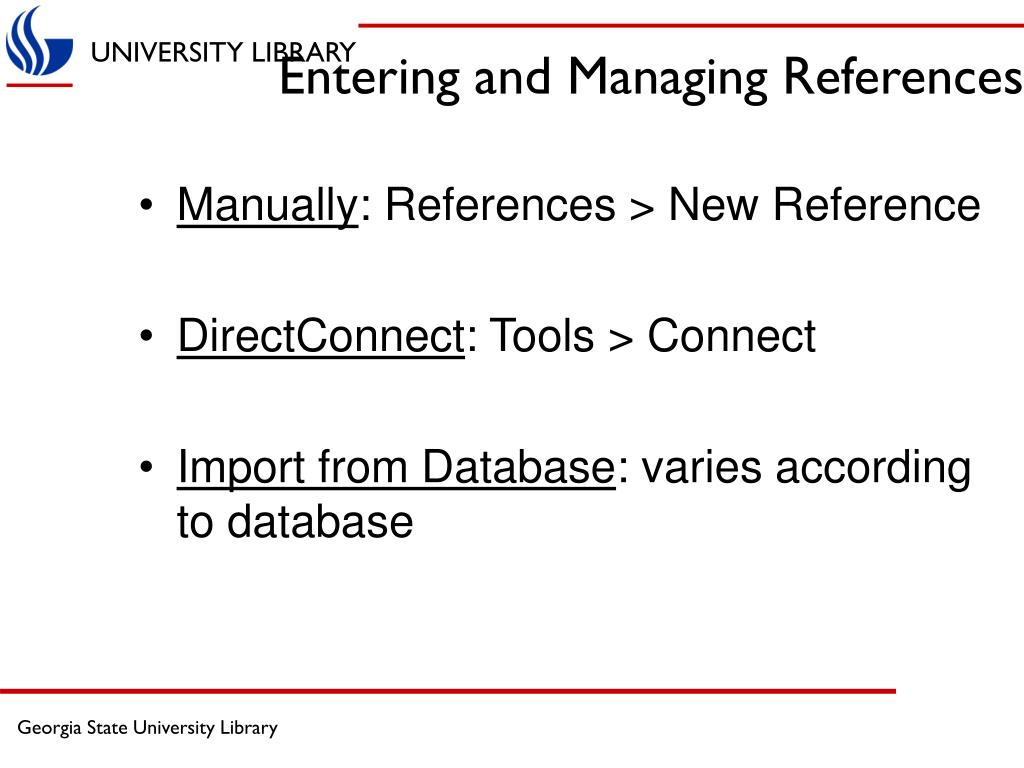 Entering and Managing References