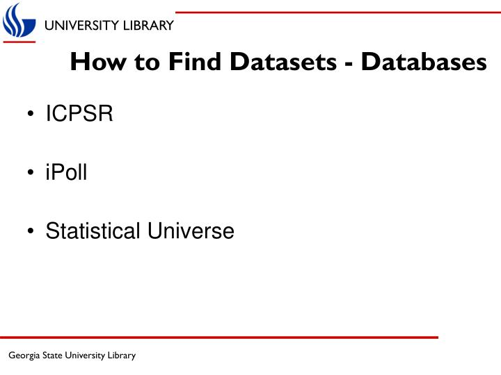 How to find datasets databases