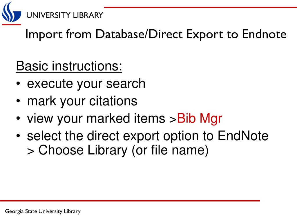 Import from Database/Direct Export to Endnote