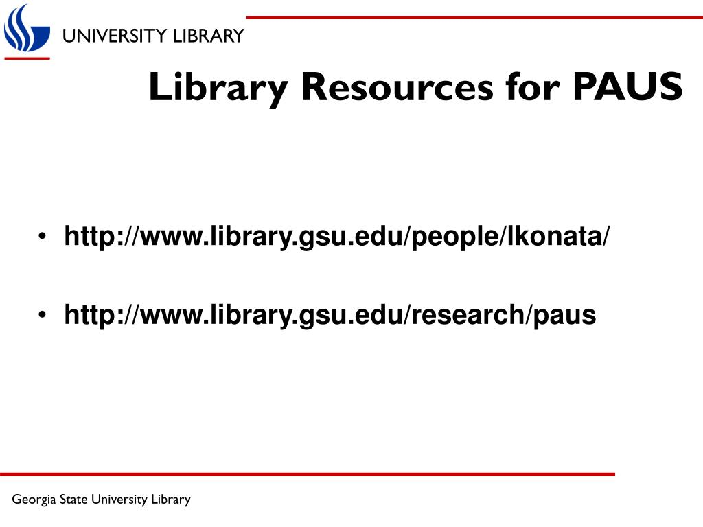 Library Resources for PAUS