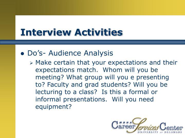 Interview Activities