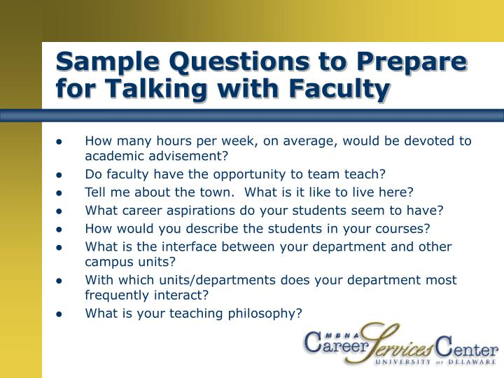Sample Questions to Prepare for Talking with Faculty