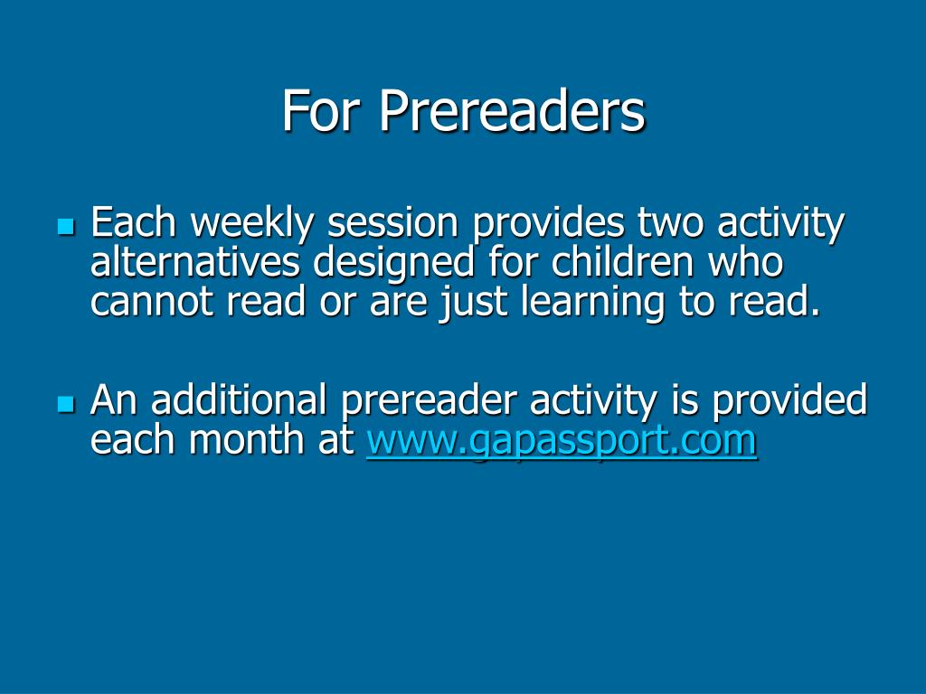 For Prereaders
