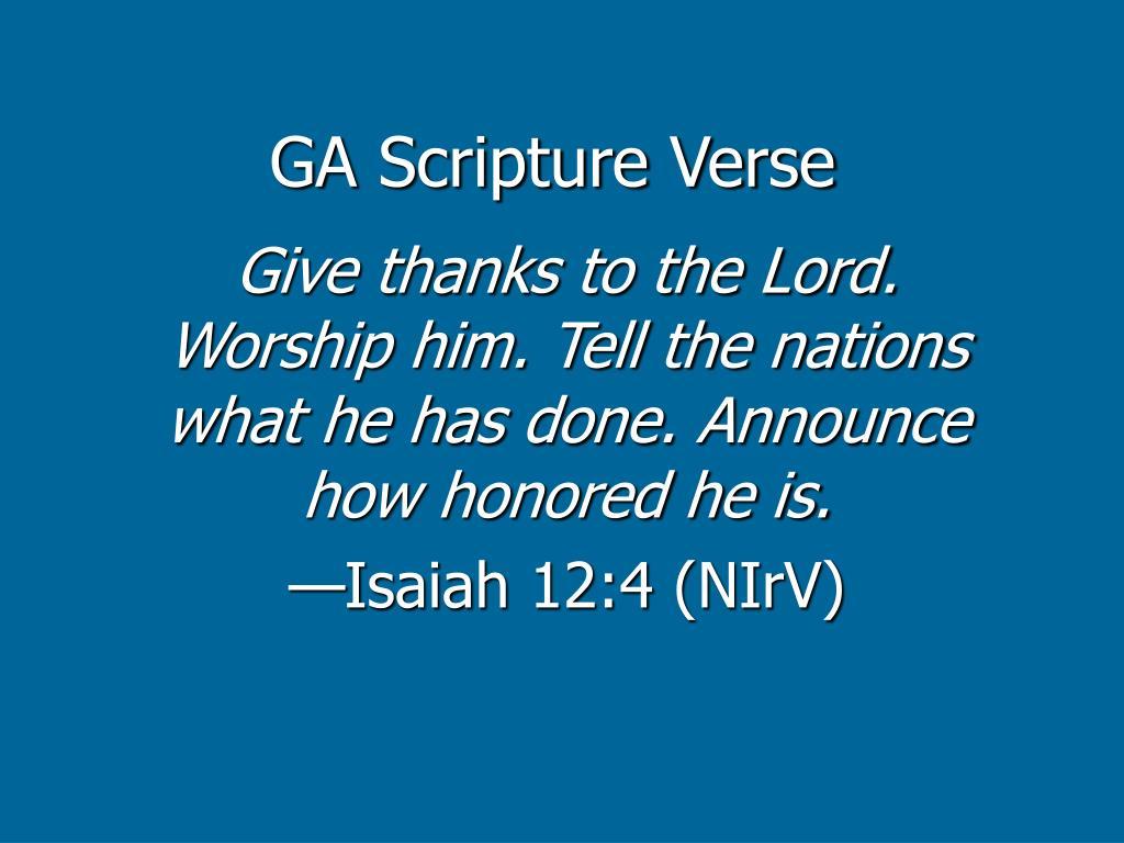 GA Scripture Verse
