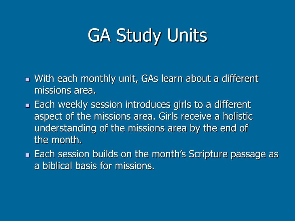 GA Study Units
