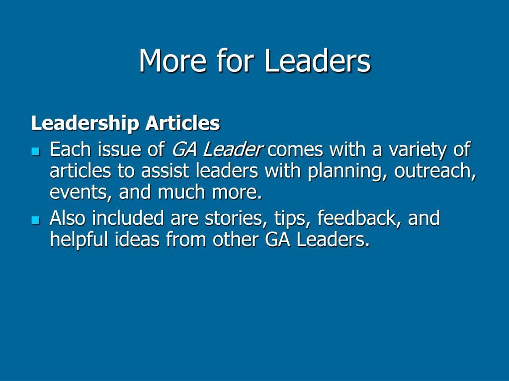 More for Leaders