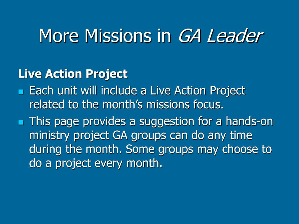 More Missions in