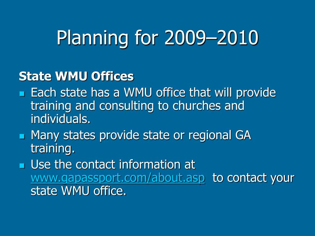 Planning for 2009–2010