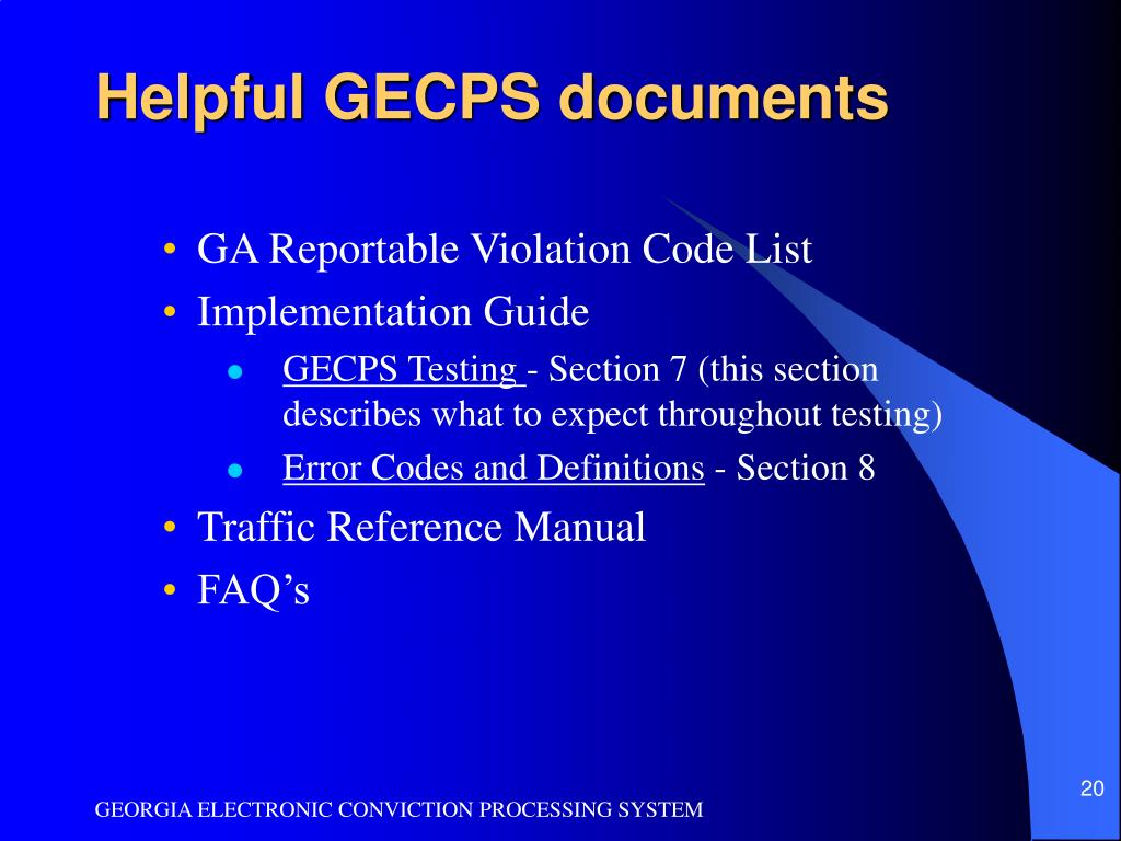 Helpful GECPS documents