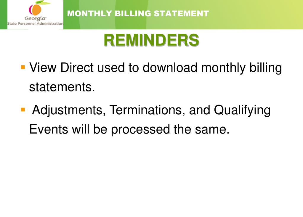 MONTHLY BILLING STATEMENT