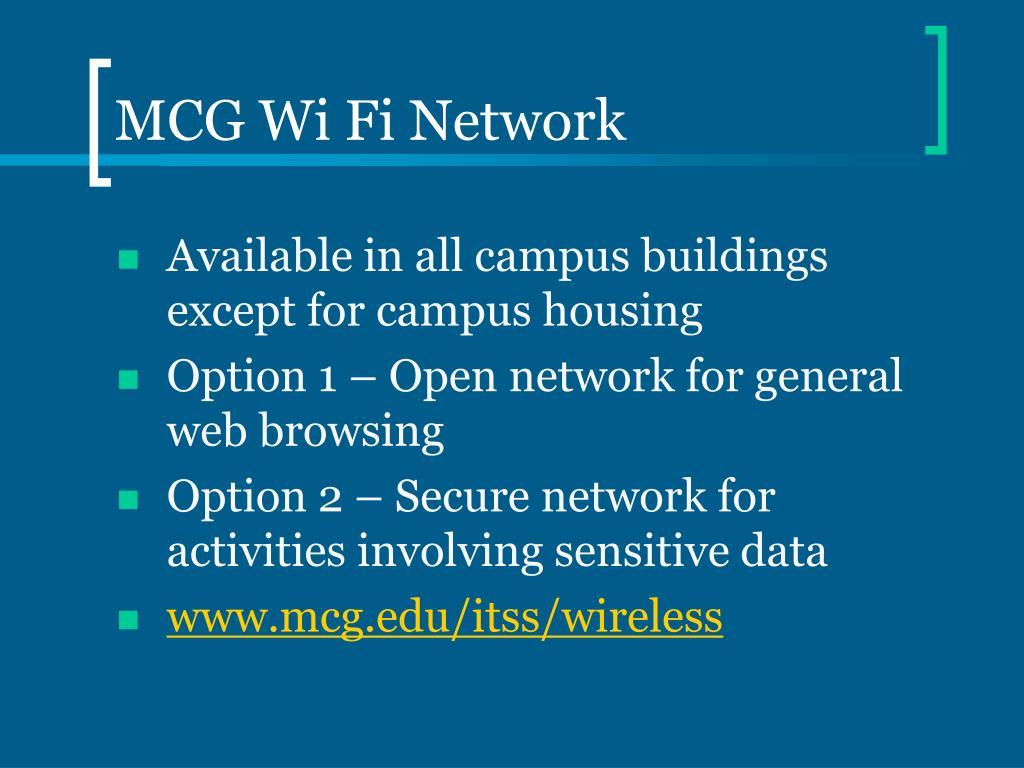 MCG Wi Fi Network